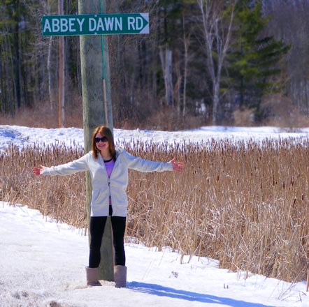 Abbey Dawn Road sign