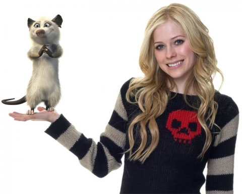 "Avril lavigne with Heather, her ""Over the Hedge"" character"